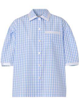 Burberry рубашка в клетку гингем с пышными рукавами 8028968