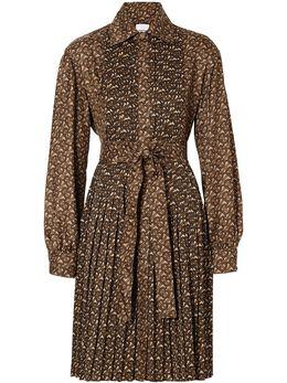 Burberry платье-рубашка с плиссировкой и монограммой 8025041
