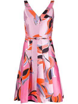 Emilio Pucci коктейльное платье со складками и геометричным принтом 0ERH890E700