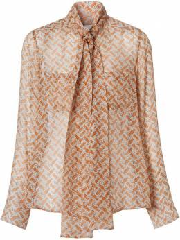 Burberry блузка с бантом и монограммой 8025806