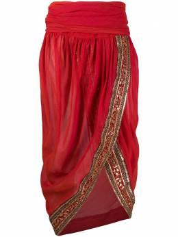 Romeo Gigli Pre-Owned полупрозрачная юбка с вышивкой 1990-х годов RGIG600N
