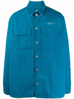 Off-White джинсовая рубашка оверсайз с принтом OMYD017S20E550253002