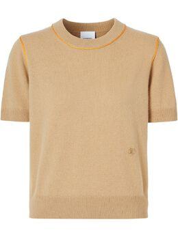 Burberry футболка с контрастной окантовкой и монограммой 8026295