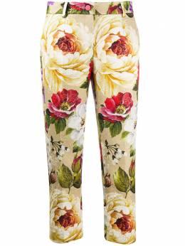 Dolce&Gabbana укороченные брюки с цветочным принтом FTAM3THSM2S