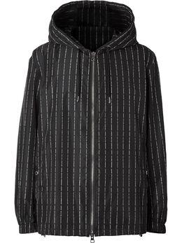 Burberry куртка в тонкую полоску с капюшоном и логотипом 8024243
