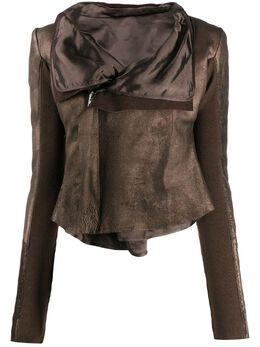 Rick Owens байкерская куртка с эффектом металлик RP20S1704LBRM