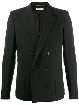 Saint Laurent двубортный пиджак узкого кроя 596947Y510F