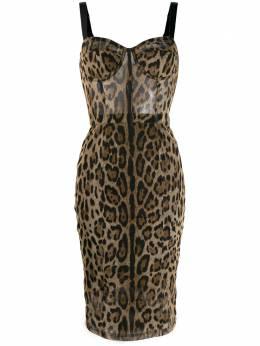 Dolce&Gabbana облегающее платье с леопардовым принтом F6F4XTFSEGZ