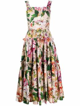 Dolce&Gabbana платье с цветочным принтом и складками F6H5RTHS5F8