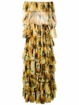 Dolce&Gabbana ярусное платье без бретелей с принтом F69Z1THS15I