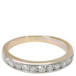 Tiffany & Co. Lucida 0.55 CTW Diamond 18K Yellow Gold And Platinum Wedding Band Ring Size 56 284788
