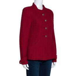 Chanel Red Tweed Stand Collar Jacket M 285550
