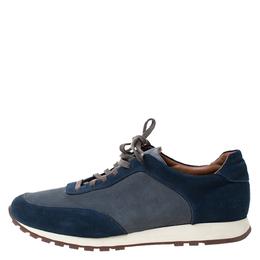 Loro Piana Blue/Grey Suede Low Top Sneakers Size 42 285616