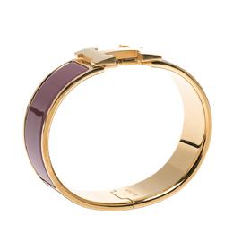 Hermes Clic Clac H Mauve Enamel Gold Plated Wide Bracelet GM 284641