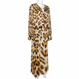 Roberto Cavalli Brown Animal Print Silk Maxi Dress L 284717