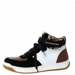 Burberry Multicolor Leather, Suede and Canvas Vintage Check Dennis High Top Sneakers Size 39 285653