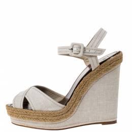 Christian Louboutin Cream Canvas Almeria Cross Strap Espadrille Wedge Sandals Size 40