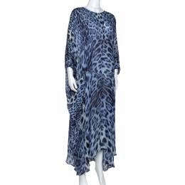 Roberto Cavalli Blue Animal Print Silk Kaftan Dress M 284701