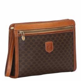 Celine Brown/Dark Brown Macadam Canvas Clutch Bag 285429