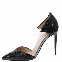 Valentino Black Leather and PVC B Drape Pointed Toe Pumps Size 38 285677