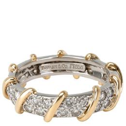 Tiffany & Co. Schlumberger Platinum & 18K Yellow Gold 7/8 CTW Diamond Band Ring Size 54 284814