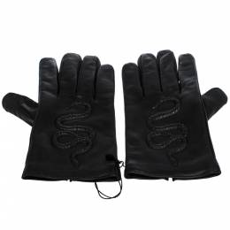 Gucci Black Snake Embossed Leather Gloves Size M 276654