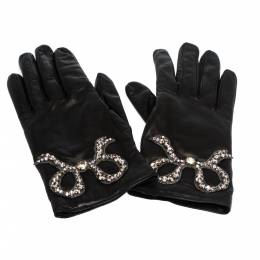 Gucci Black Leather Crystal Patch Gloves Size S 276656