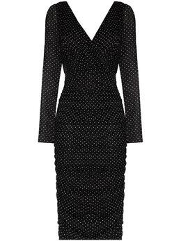Dolce&Gabbana шифоновое платье миди в горох F6H6BTFSASB