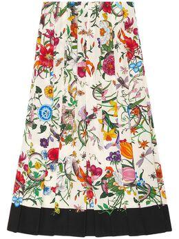 Gucci юбка с принтом Flora Snake 409370ZIP58