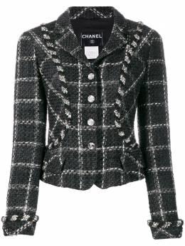 Chanel Pre-Owned приталенный пиджак 2006-го года в клетку CHANE2200