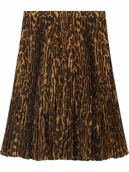 Burberry плиссированная юбка с леопардовым принтом 8025236