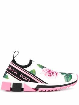 Dolce&Gabbana слипоны Sorrento с принтом Tropical Rose CK1595AX351