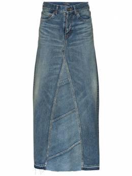 Saint Laurent джинсовая юбка макси с завышенной талией 593677Y551V