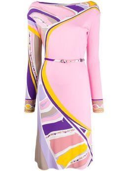 Emilio Pucci платье с абстрактным принтом и поясом 0HJH410H842