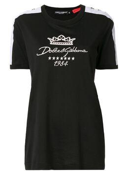 Dolce&Gabbana футболка с вышитым логотипом F8L74ZG7UAR