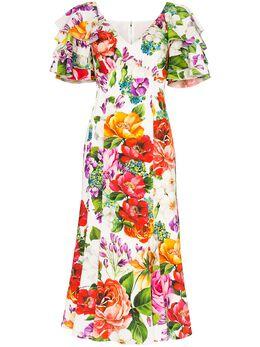Dolce&Gabbana платье с цветочным принтом и оборками F6H2NTFSAZM