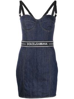Dolce&Gabbana джинсовое платье с логотипом F6D5EDG899T