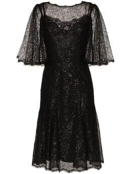 Dolce&Gabbana кружевное платье миди с драпировкой и эффектом металлик F6H1FTHLM01