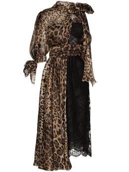 Dolce&Gabbana платье миди с леопардовыми вставками F6G7ATGDR72