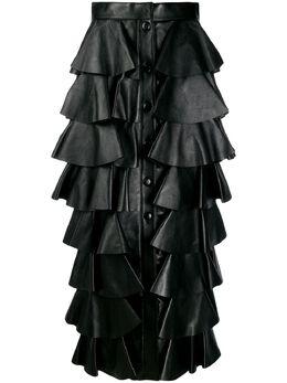 Saint Laurent длинная ярусная юбка с оборками 577313YC2QO