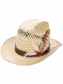 Saint Laurent шляпа с перьями 6106783YE49