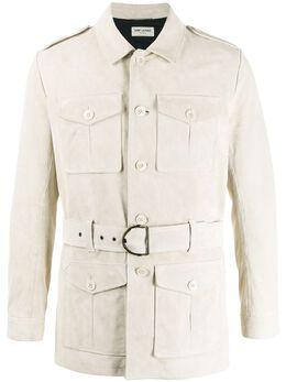 Saint Laurent куртка Norfolk с поясом 603999YCAG2