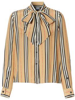 Burberry блузка в полоску Icon Stripe с бантом 8024258