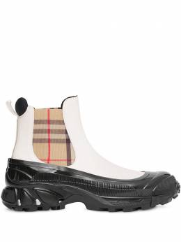 Burberry ботинки челси со вставкой в клетку Vintage Check 8021777
