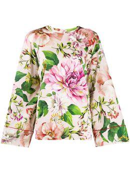 Dolce&Gabbana блузка с расклешенными рукавами и цветочным принтом F71M4ZFSAZK