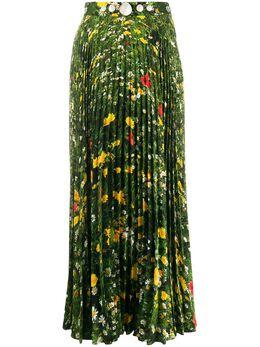 Christopher Kane плиссированная юбка с принтом SS20SK1290LDNFIELDSPOLYCADYGREEN
