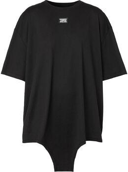 Burberry футболка с аппликацией-логотипом и вырезами 4564542
