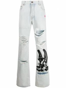 Off-White джинсы с вышивкой и прорезями OMYA065R203860087110