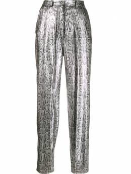 Christopher Kane брюки со змеиным принтом и пайетками RE20TR524CSNAKESKINSEQUINSILVER