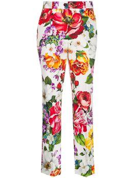 Dolce&Gabbana укороченные брюки с цветочным принтом FTAM2TFSFJG